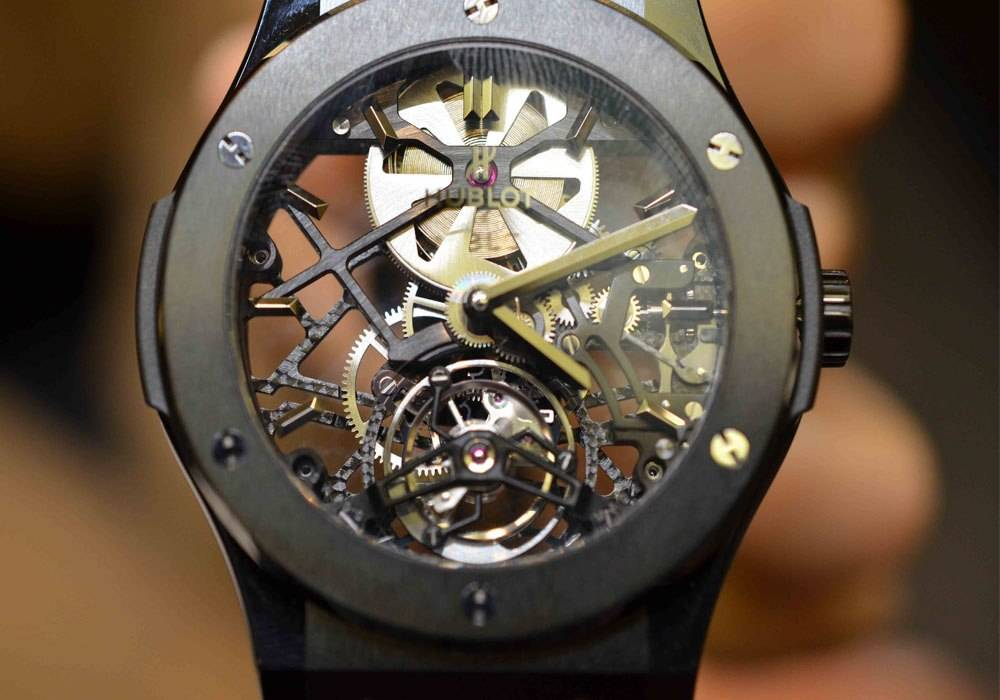 Today's Haute Time Watch of the Day selected by Carmelo Anthony is the Classic Fusion Skeleton Tourbillon by Hublot