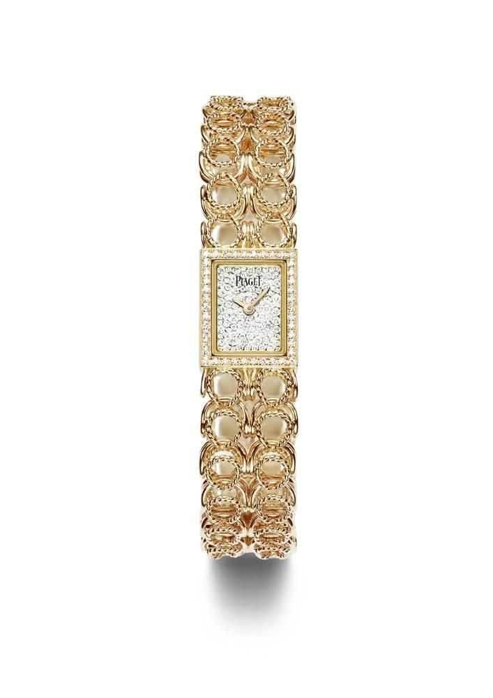 Gold chain cuff watch