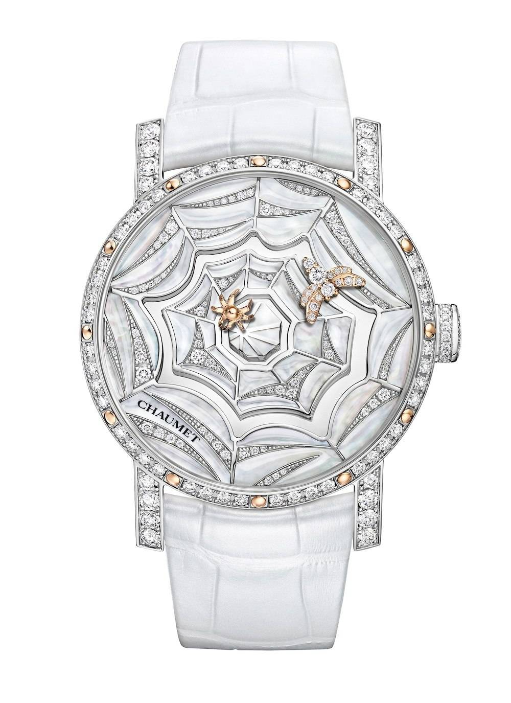 """The spider (hour hand) chases the bee (minute hand) around the dial on Chaumet's brilliant """"Atrape-Moi ... Si Tu M'Aimes"""" (Catch me if you can) center piece."""