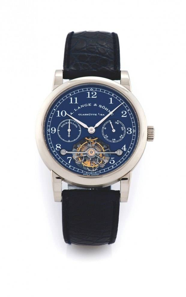 This Lange & Söhne Pour Le Mérite Tourbillon Limited Edition in white gold sold for $300,000 at Antiquorum.