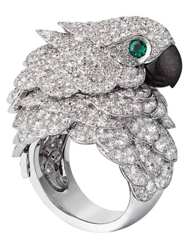 The Parrot watch, from Cartier's Les Heures Fabuleuses collection, is a cross between a timepiece and a cocktail ring.