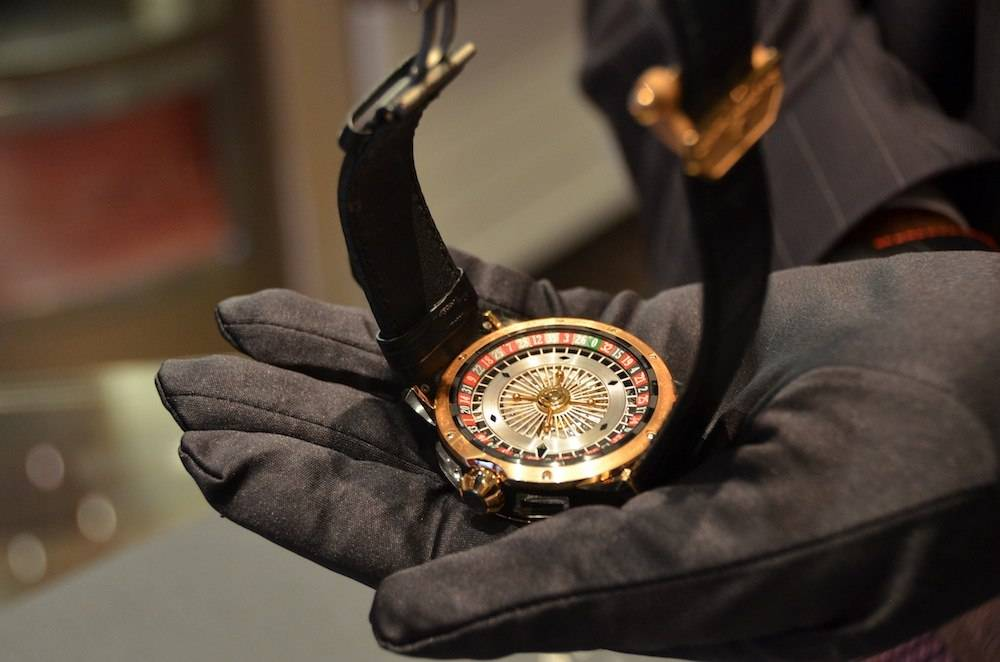 The underside of the Christophe Claret Blackjack reveals an operable roulette wheel.