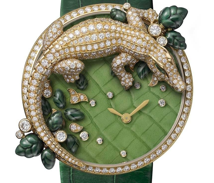 Cartier les Indomptables Brooch Watch Crocodile.