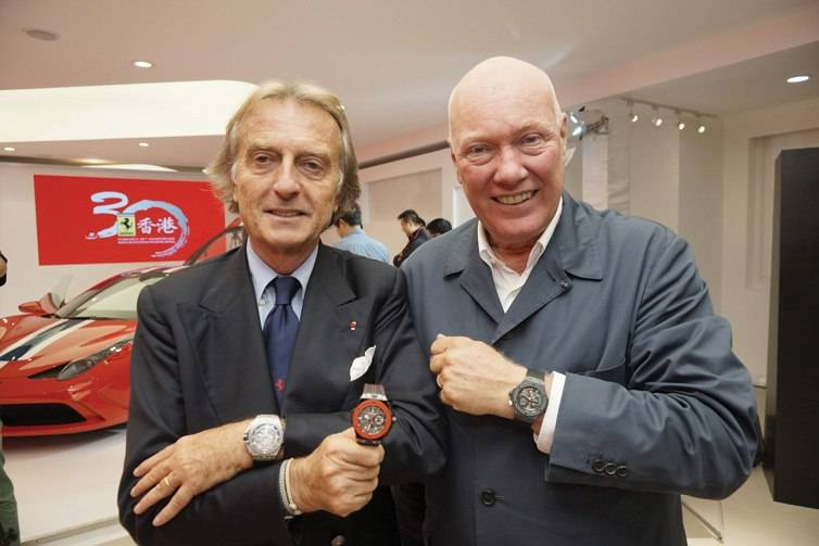 Ferrari Chairman Luca Cordero di Montezemolo and Jean-Claude Biver, Chairman of Hublot and Head of the Watches Division of the LVMH Group.
