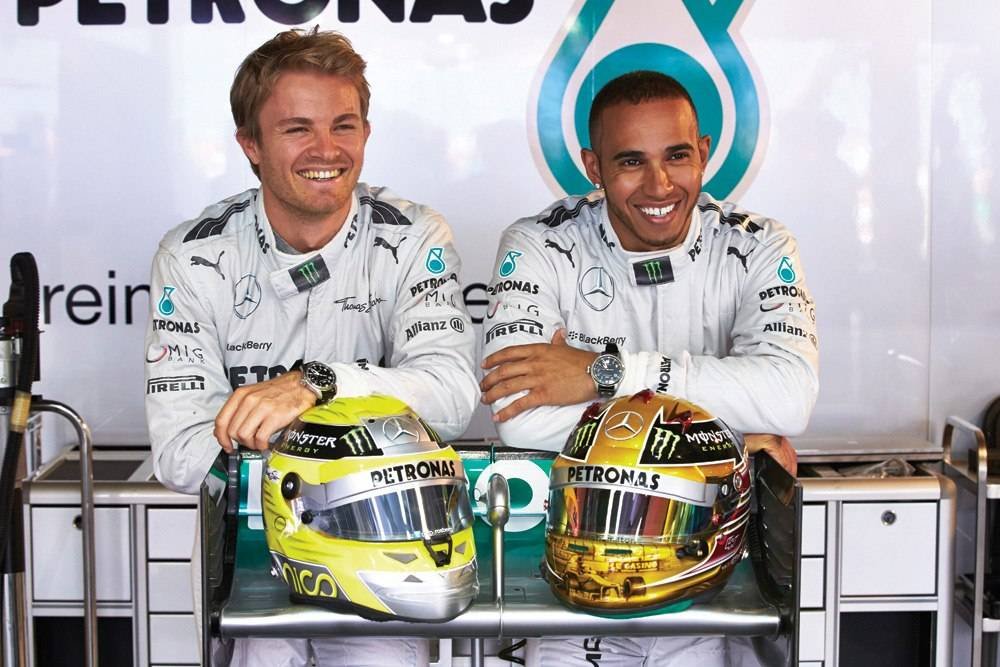 Mercedes AMG Petronas teammates Nico Rosberg and Lewis Hamilton.
