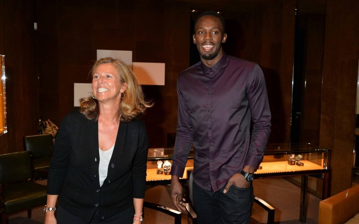 Usain Bolt arriving at the Hublot boutique in London