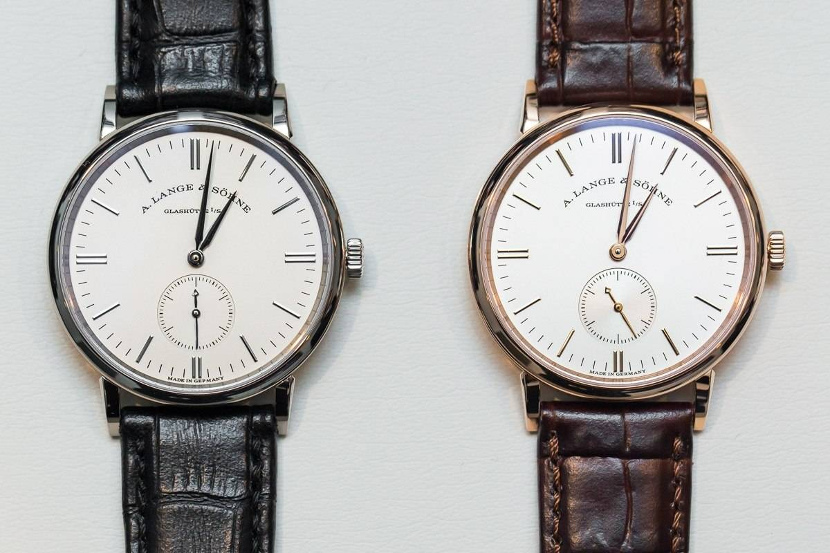 SIHH 2015: A. Lange & Söhne A. Lange & Söhne Saxonia in rose gold (Ref. 219.032, above) and white gold (Ref. 219.026, below).