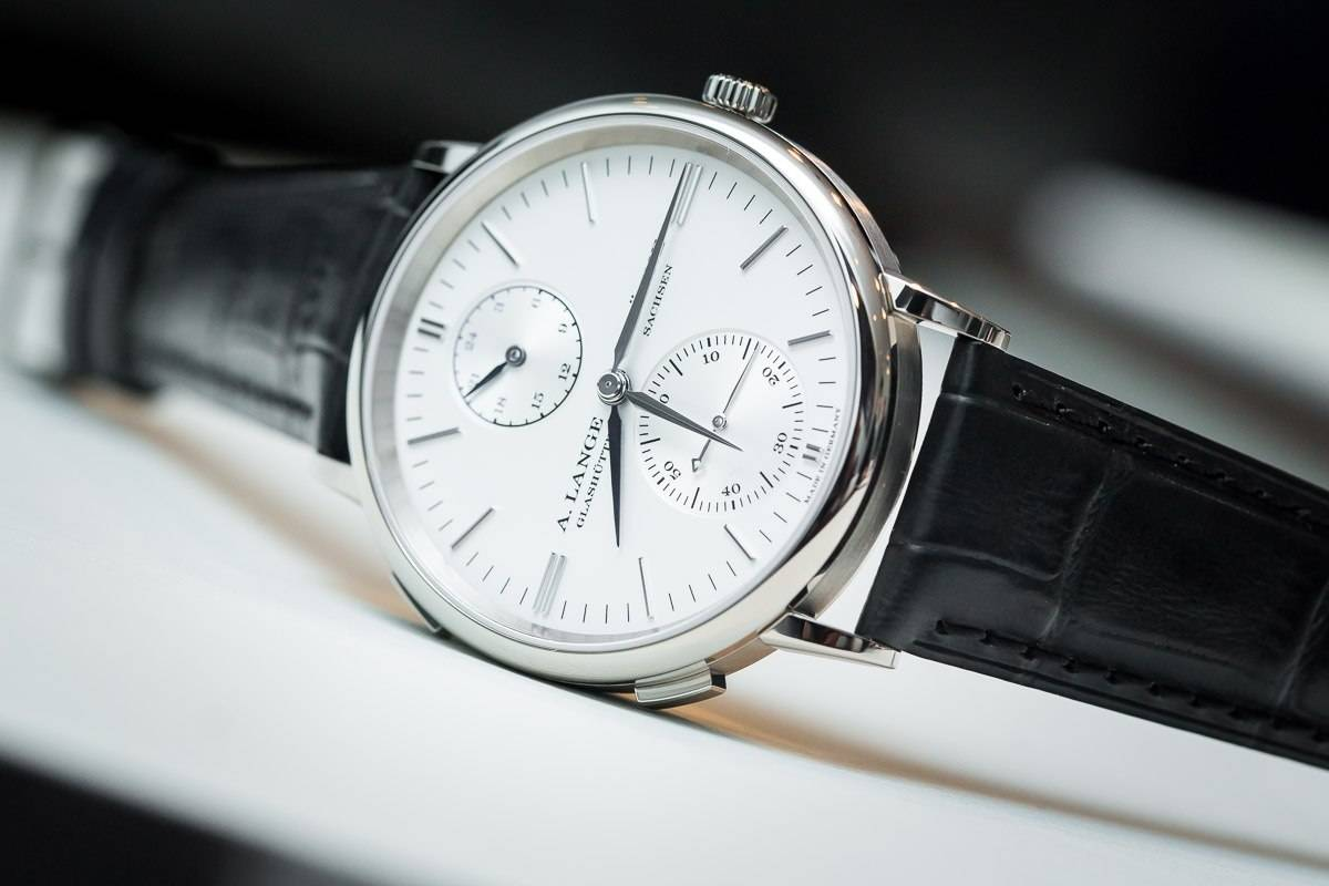 A. Lange & Söhne Saxonia Dual Time in  white gold (Ref. 386.026, below)