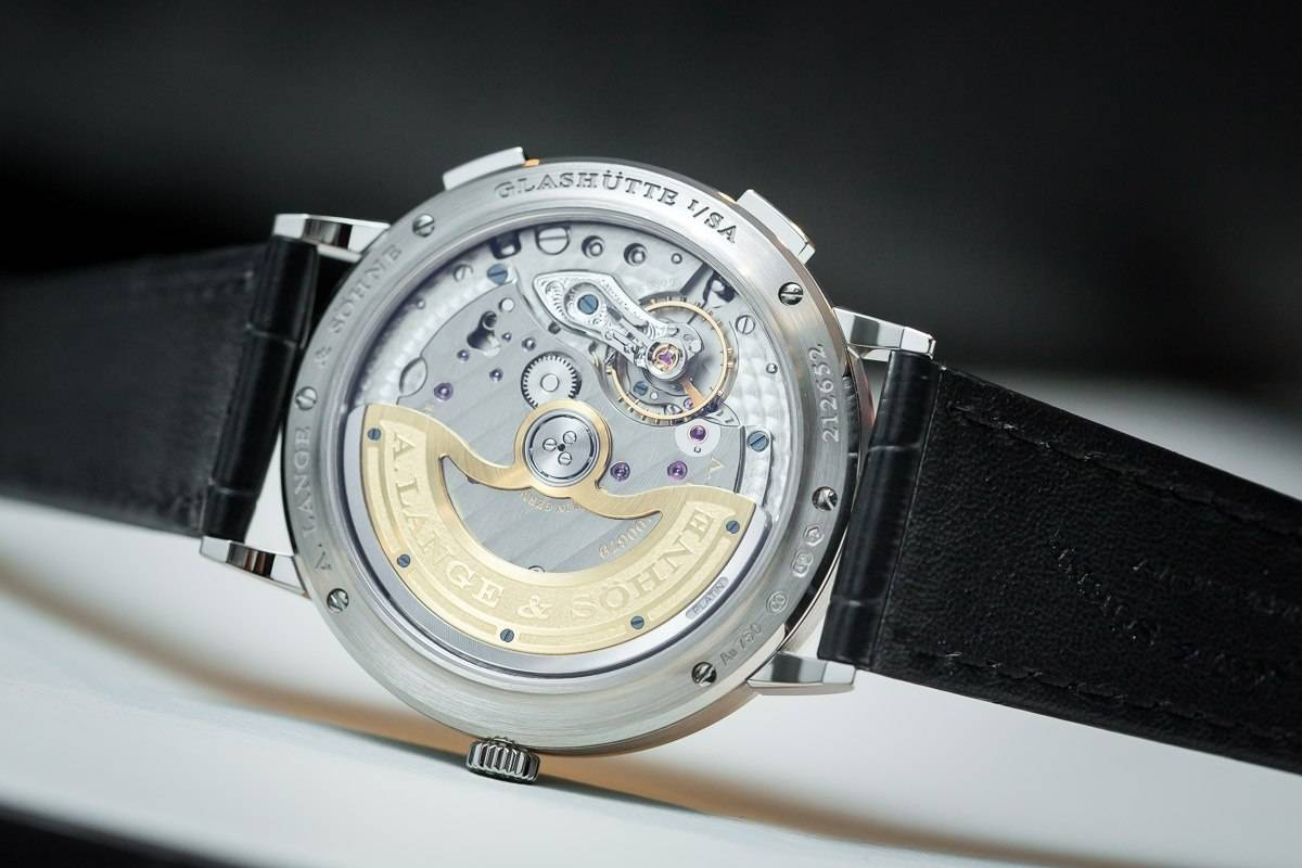 SIHH 2015: Case back of A. Lange & Söhne Saxonia Dual Time (Ref. 386.026).