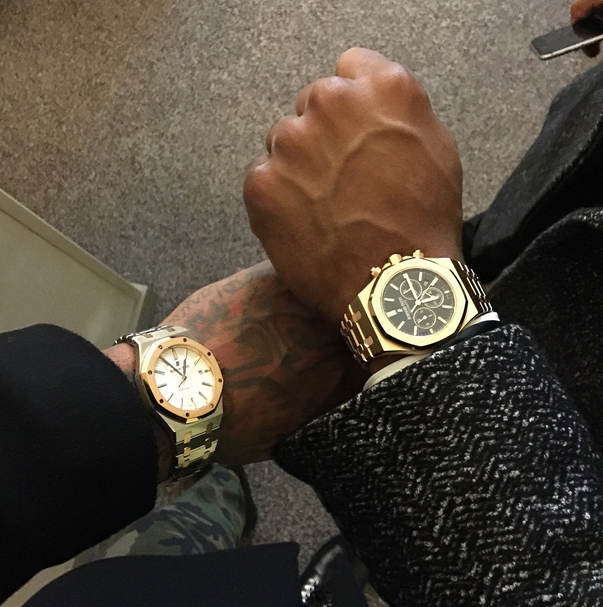 J.R. Smith and Victor Cruz show off their Audemars Piguet Royal Oak watches