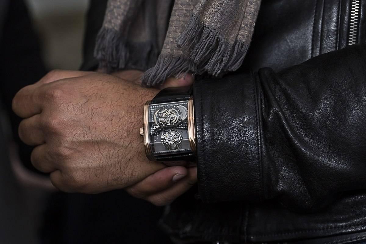 Cabestan Triple Axis Tourbillon Watch Baselworld 2015 Wrist Shot