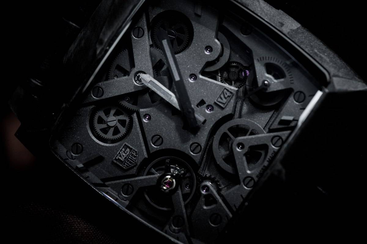 Tag Heuer Monaco V4 Phantom Watch Baselwolrd 2015 Close Up