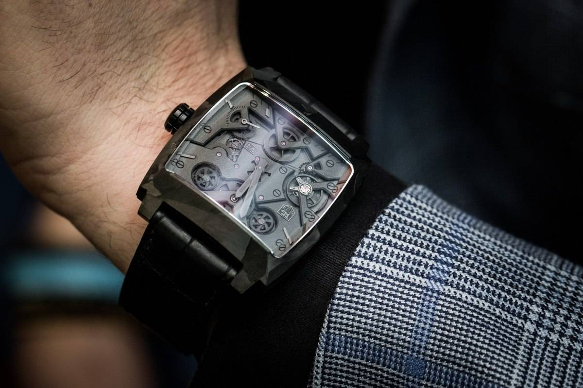 Tag Heuer Monaco V4 Phantom Watch Baselwolrd 2015 Wrist
