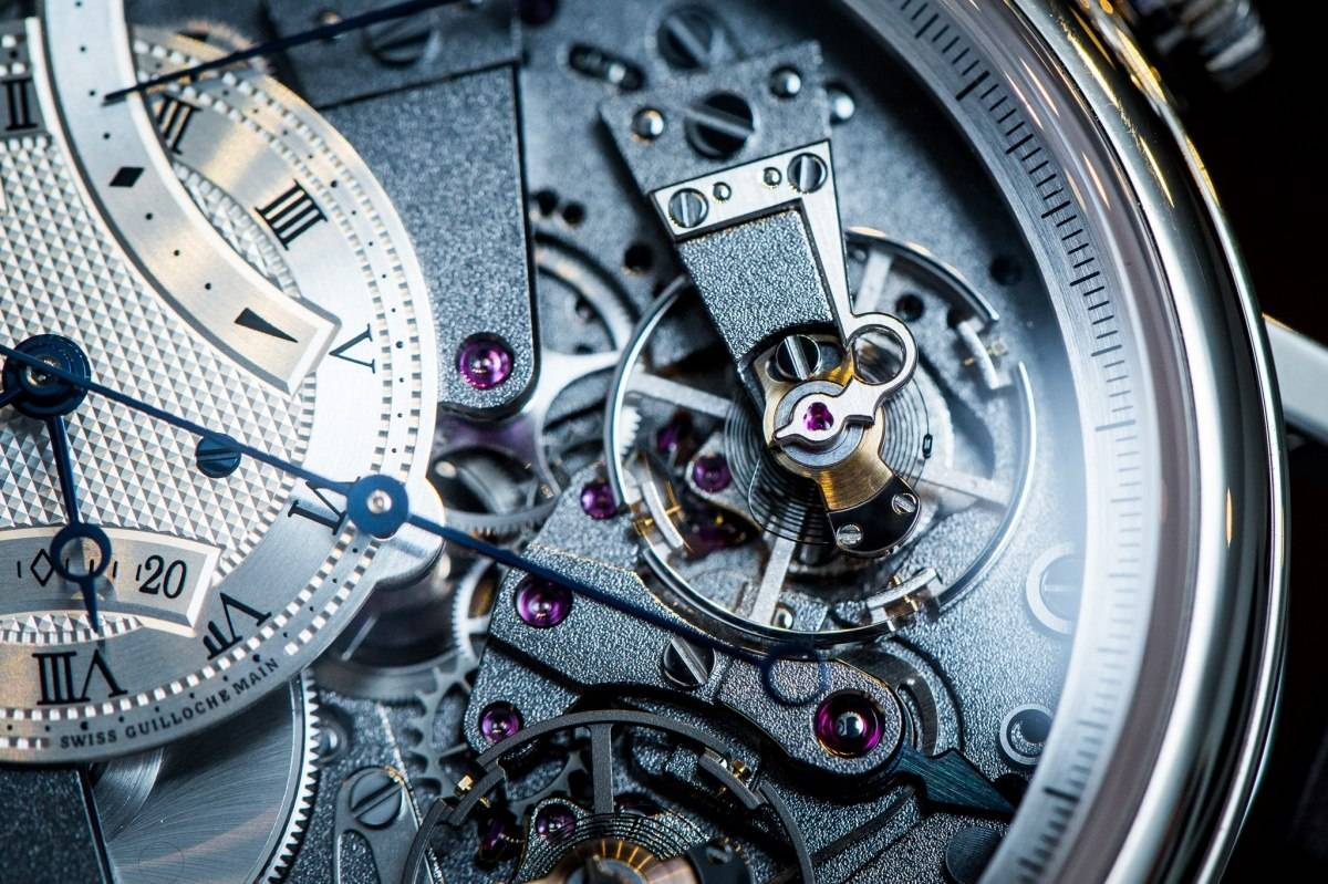 Breguet 7077 La Tradition Chronograph Indépendant Watch Baselworld 2015 Wrist Close Up