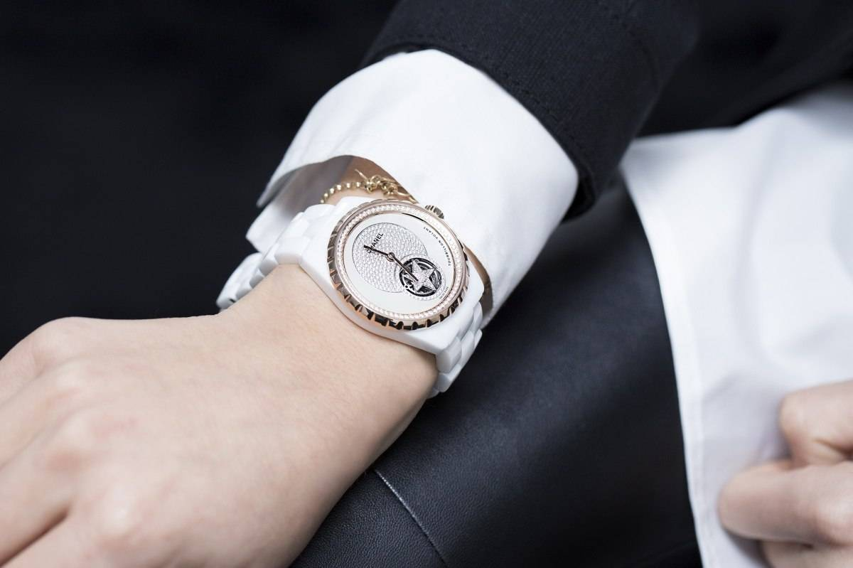 Chanel J12 Flying Tourbillon White Watch Baselworld 2015 wrist