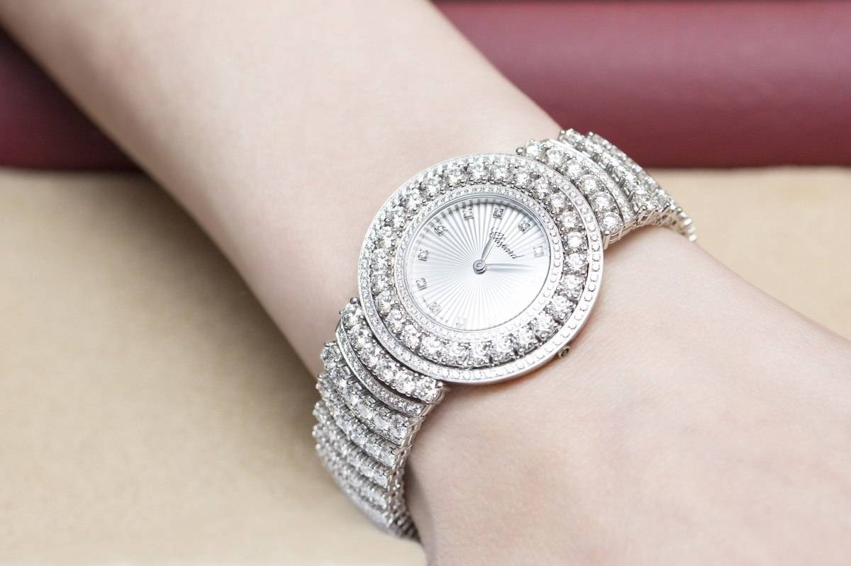 Chopard L'Heure du Diamant Pavé White Gold Watch Baselworld 2015 Wrist