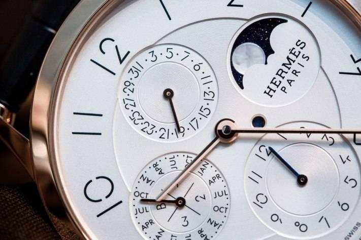Hèrmes Slim D'Hèrmes Perpetual Calendar Watch Baselworld 2015 dial