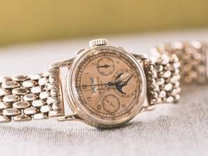 Patek Philippe Ref 1518 Watch pink gold Phillips Auction One Side