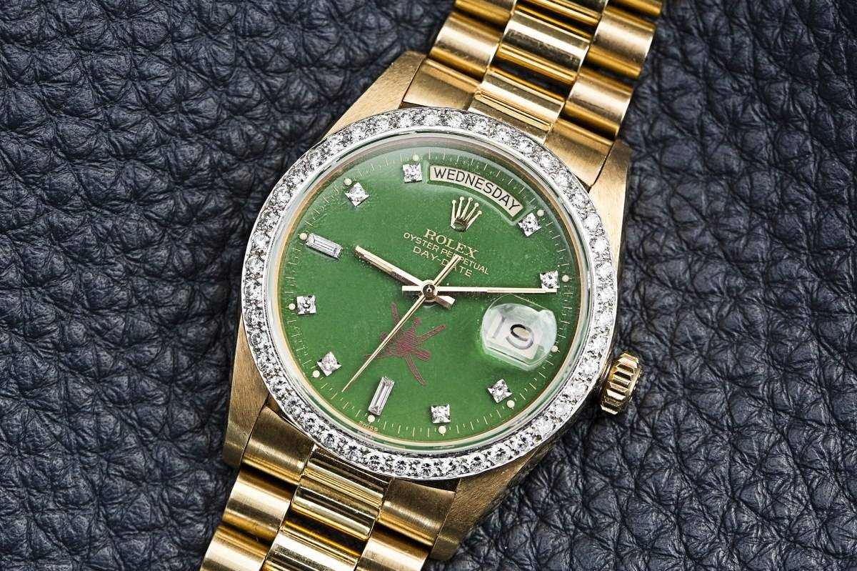 "Phillips Watch Auction Geneva Rolex Day-Date green lacquer ""Stella"" dial for the Sultanate of Oman watch"