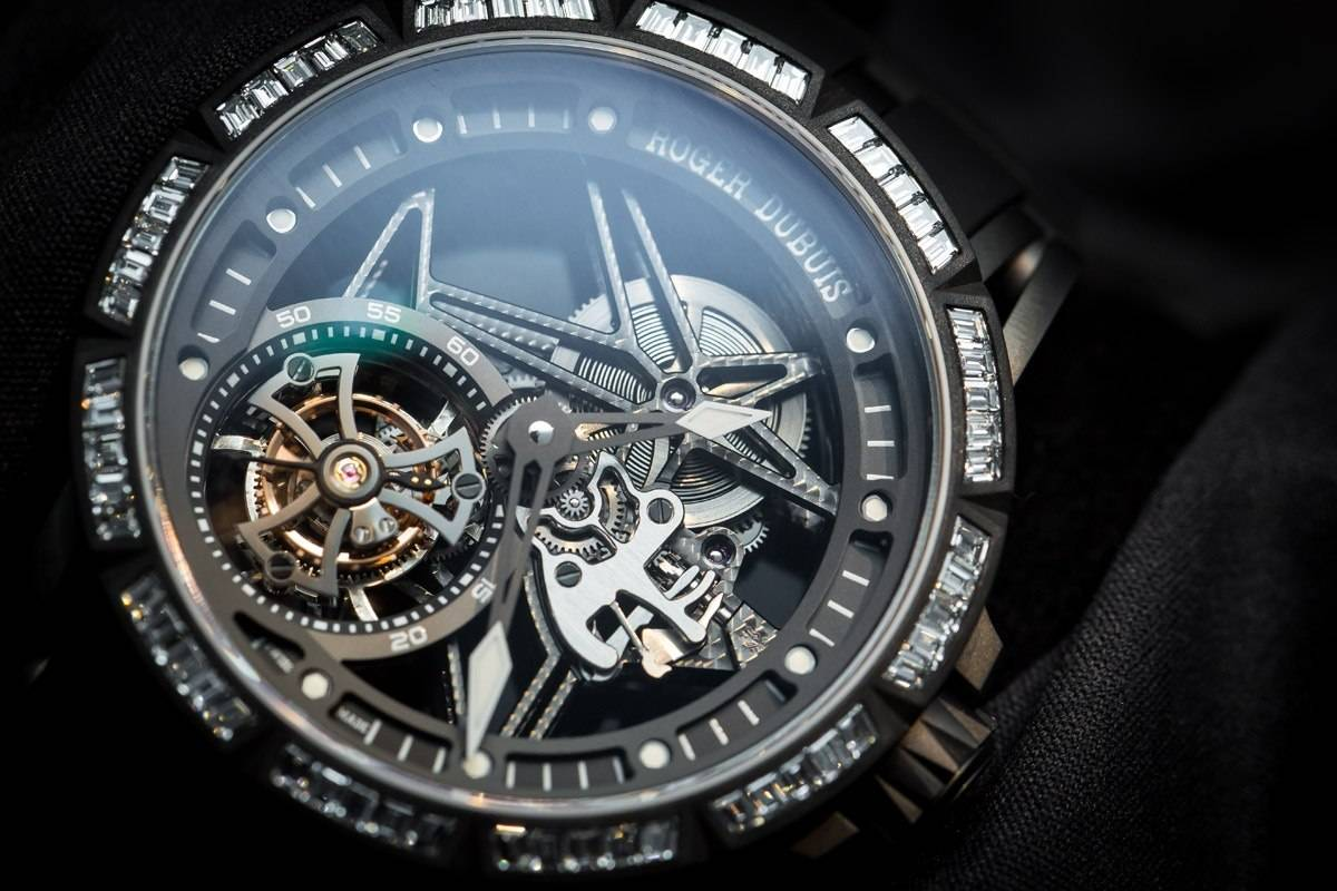 Roger Dubuis Excalibur Spider Skeleton Flying Tourbillon watch SIHH 2015 dial