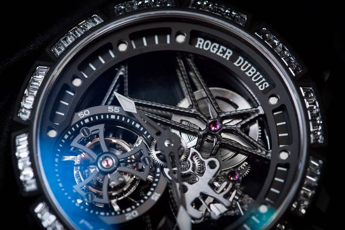 Roger Dubuis Excalibur Spider Skeleton Flying Tourbillon watch SIHH 2015 face