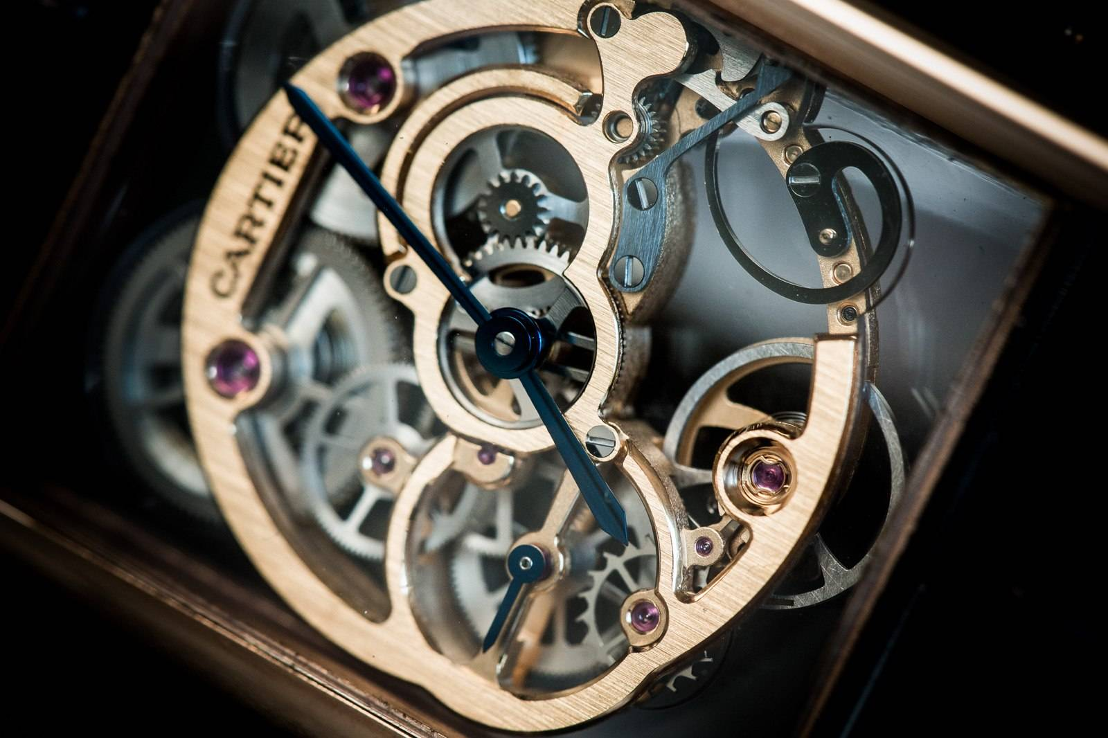 Cartier Tank Louis Cartier Skeleton Sapphire Watch SIHH 2015 Close Up