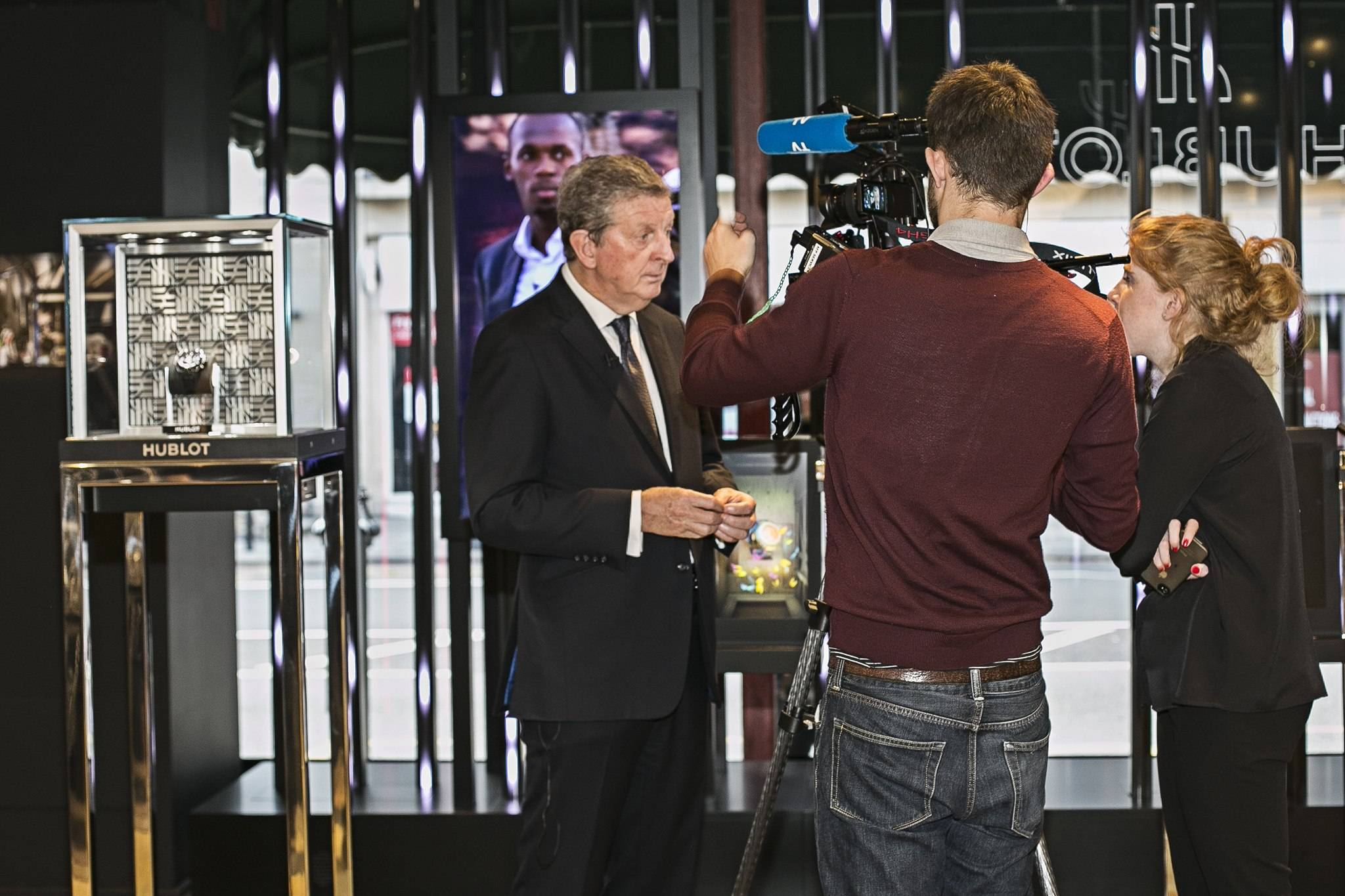 England Manager Roy Hodgson at Hublot Fluorescent Fusion Exhibition Harrods 2015