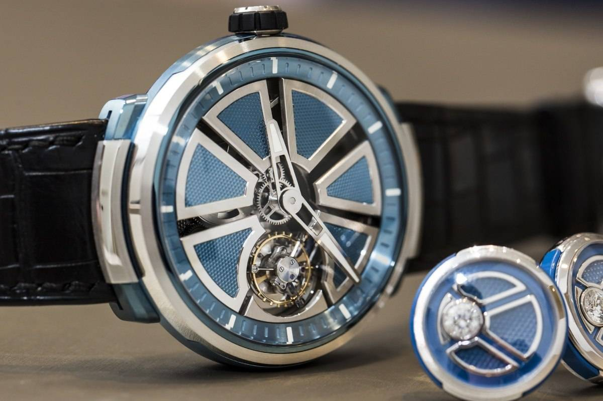 Fabergé Visionnaire I tourbillon watch in platinum baselworld 2015 front