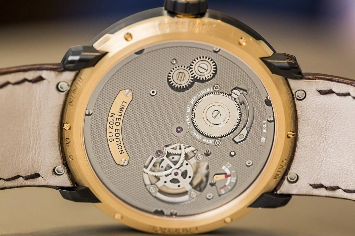 Fabergé Visionnaire I tourbillon watch in rose gold baselworld 2015 back