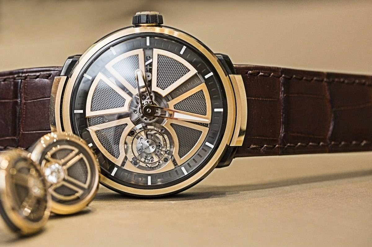 Fabergé Visionnaire I tourbillon watch in rose gold baselworld 2015 front