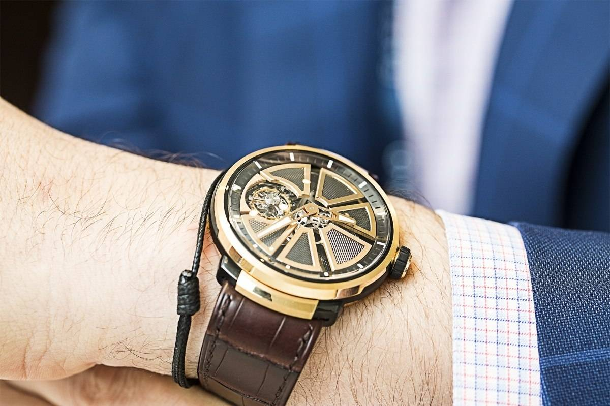 Fabergé Visionnaire I tourbillon watch in rose gold baselworld 2015 wrist