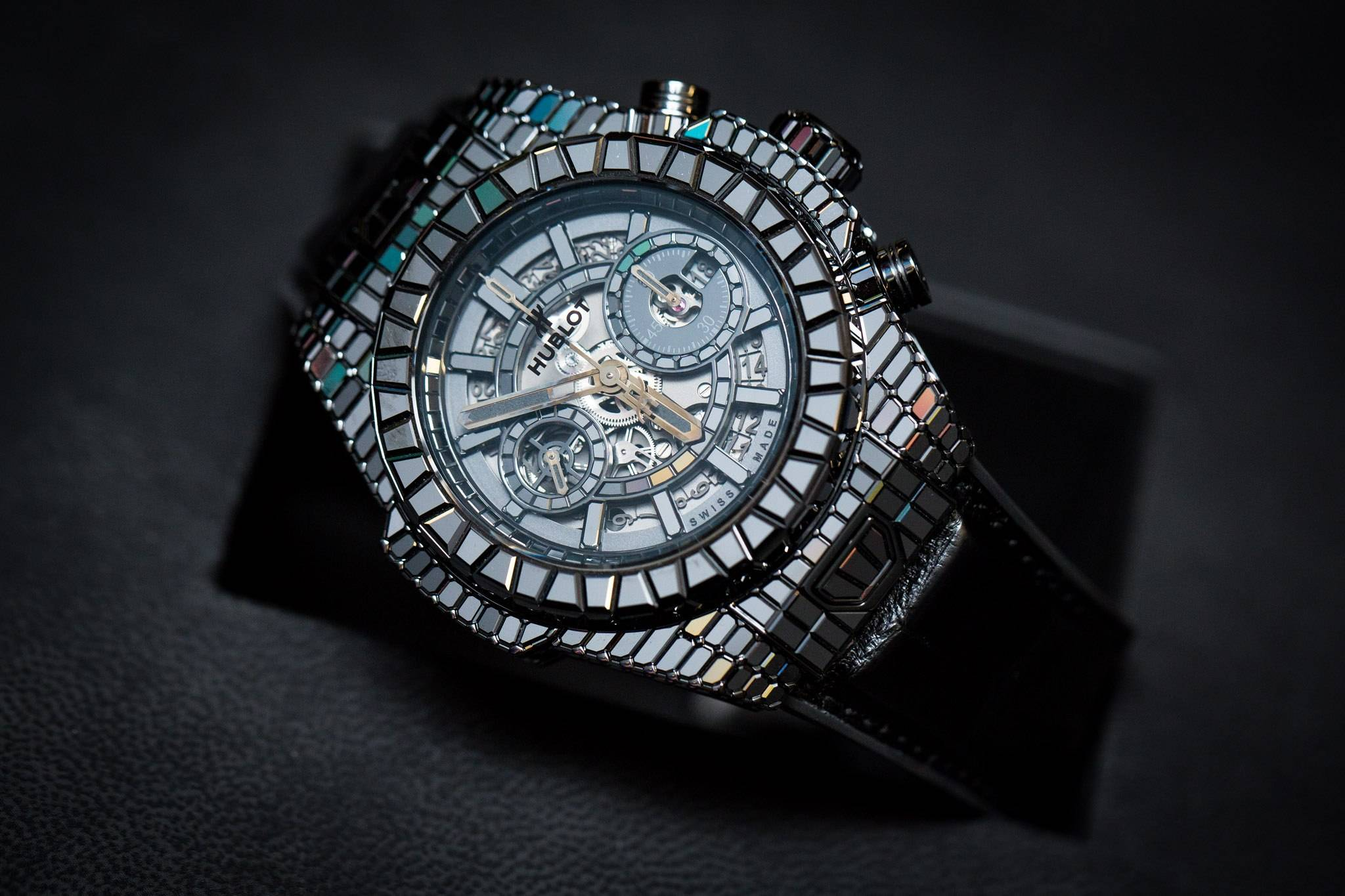 "Hublot Big Bang ""10 Years"" Haute Joaillerie Full Baguettes Black Diamonds Watch Harrods"