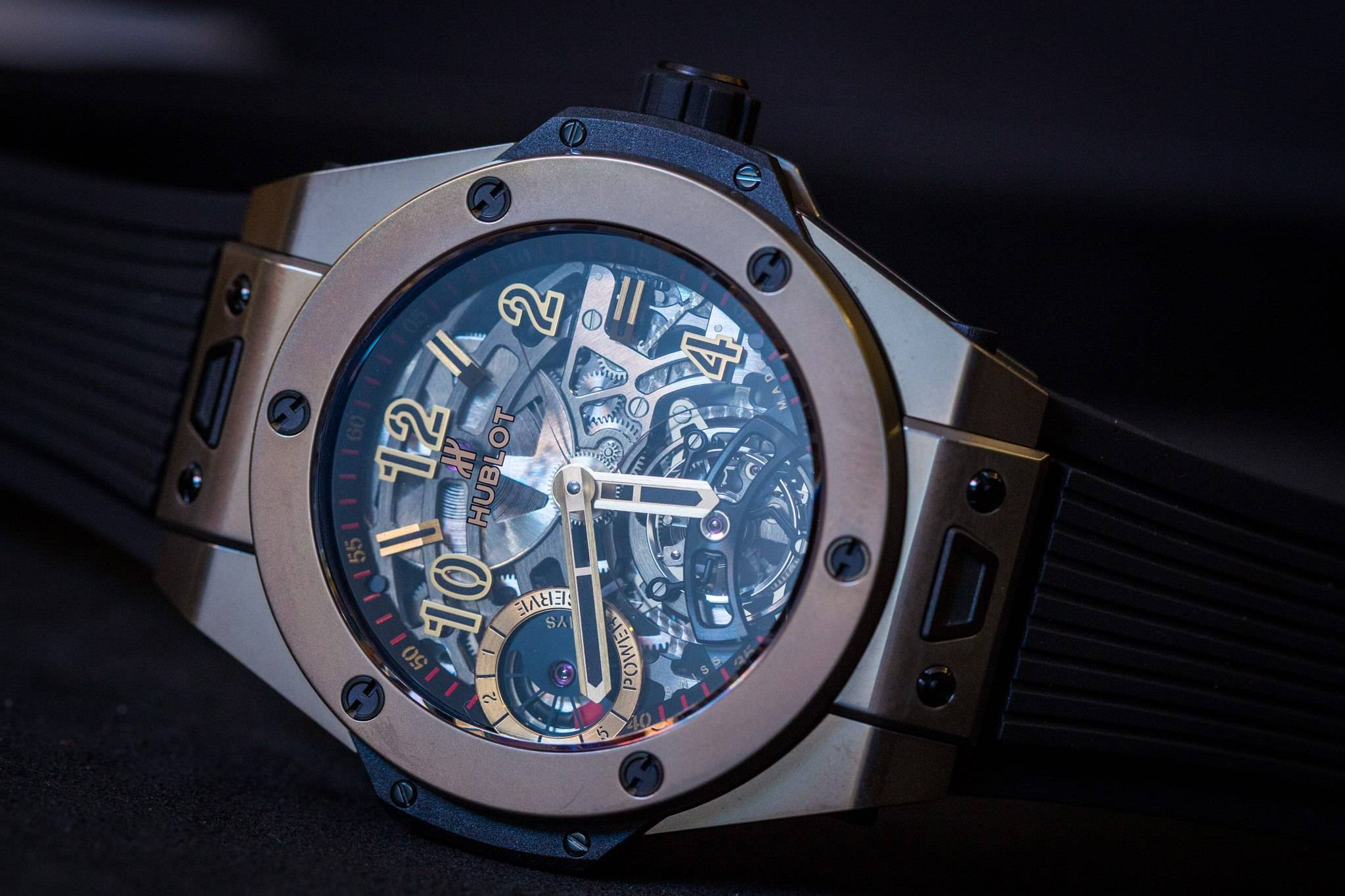 Hublot Big Bang Tourbillon 5-day Power Reserve Indicator Full Magic Gold watch baselworld 2015 in king gold front side