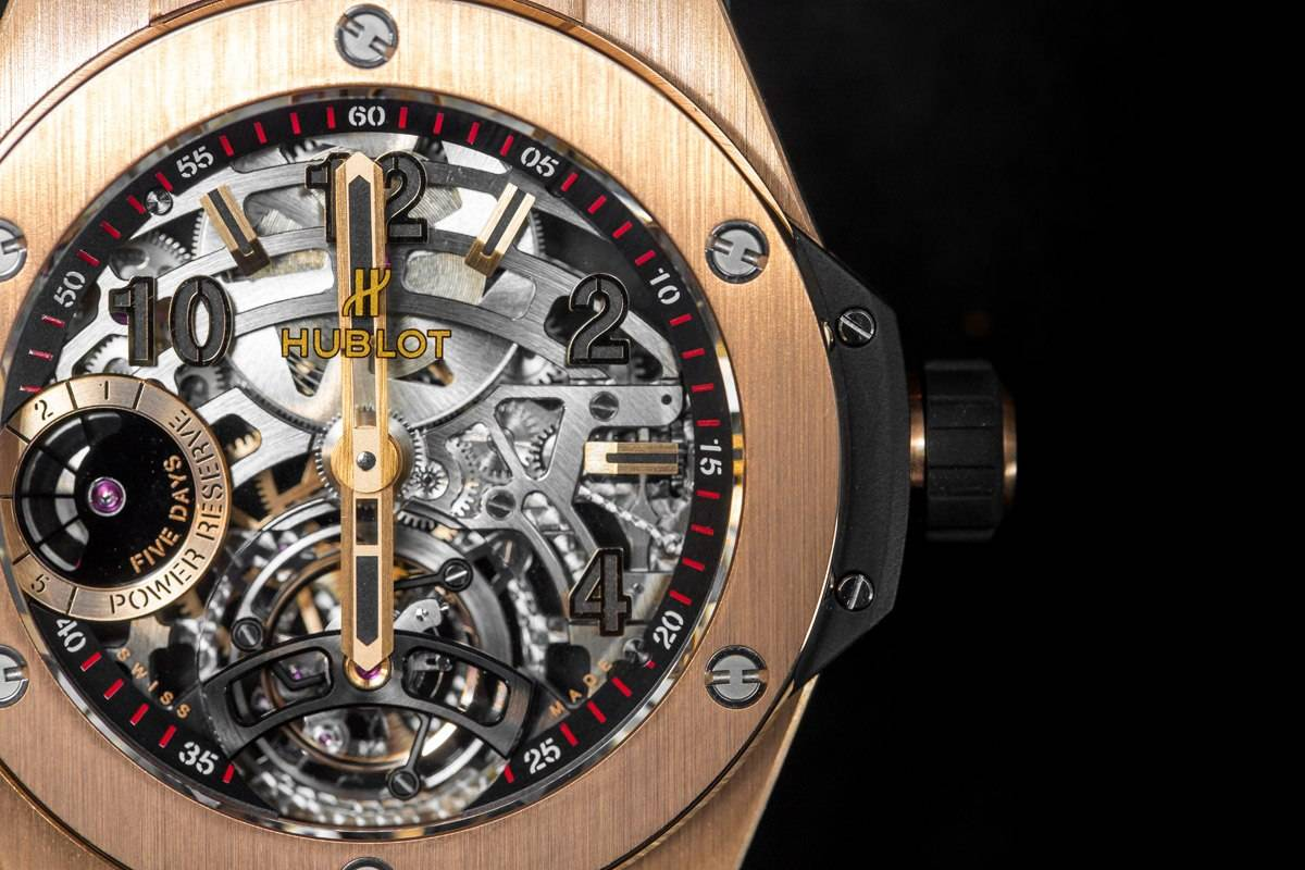 Hublot Big Bang Tourbillon 5-day Power Reserve Indicator Full Magic Gold watch baselworld 2015 in king gold front