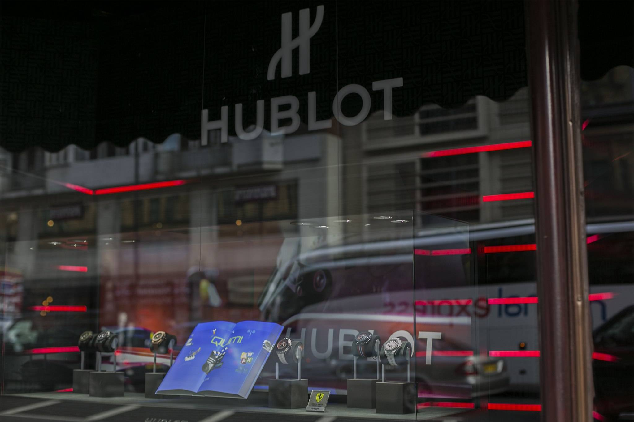 Hublot Fluorescent Fusion Exhibition Windows at Harrods 2015