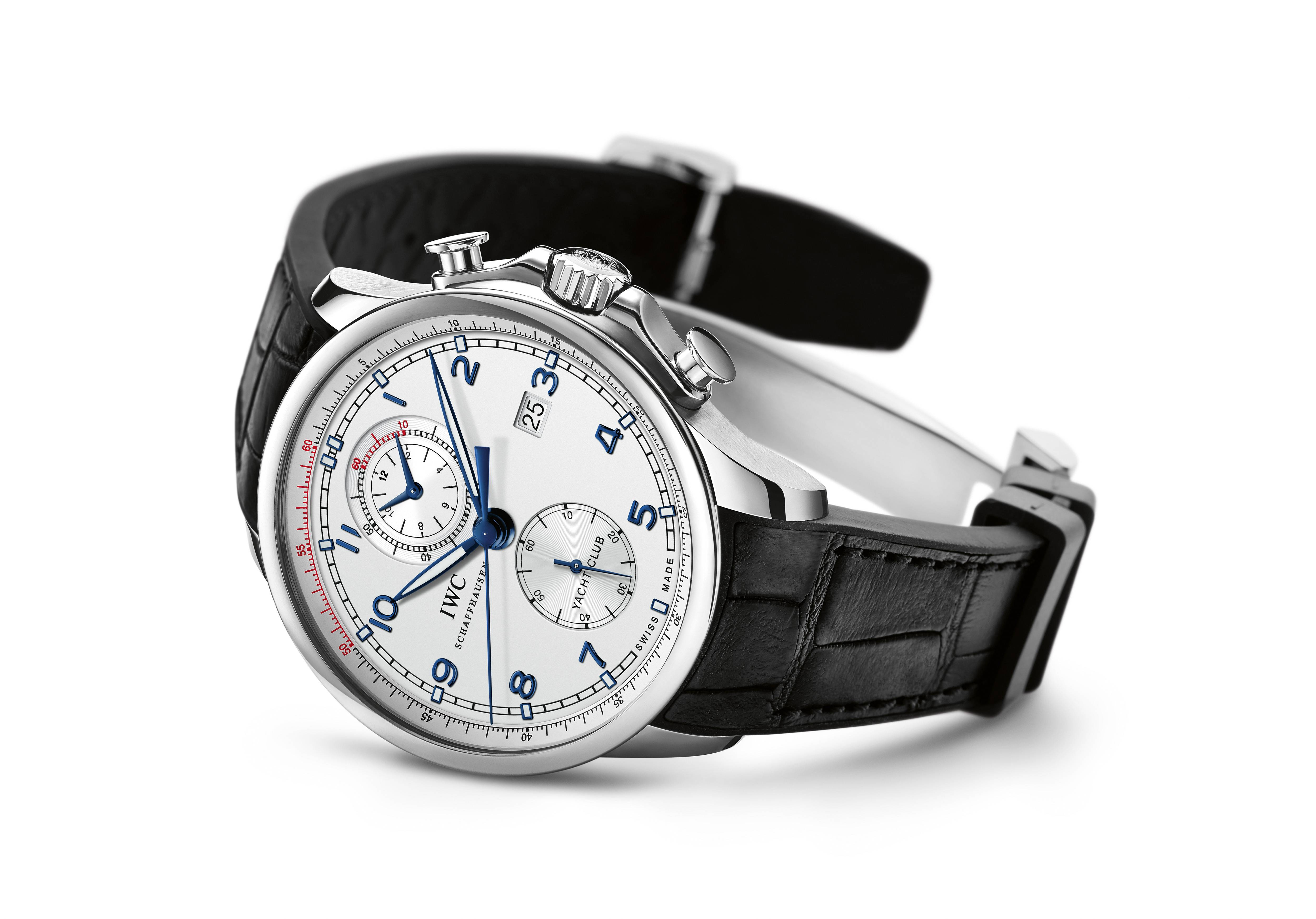 UNDATIERTES HANDOUT – The IWC Portugieser Yacht Club Chronograph Edition ''Ocean Racer'' (Ref. 3902) - limited to 1'000 watches worldwide - features a mechanical chronograph movement in a stainless-steel case. The robust watch has a sporty and masculine design with a silver plated dial, blued numerals, hands and indices. (PHOTOPRESS/IWC)