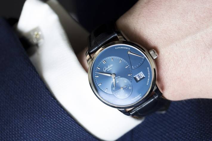 Glashütte Original PanoReserve Blue Watch 2015 Wrist