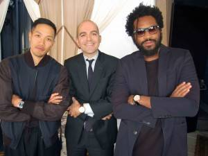 IWC North America president Edouard d'Arbaumont (center) and Public School designers Dao-Yi Chao and Maxwell Osborn
