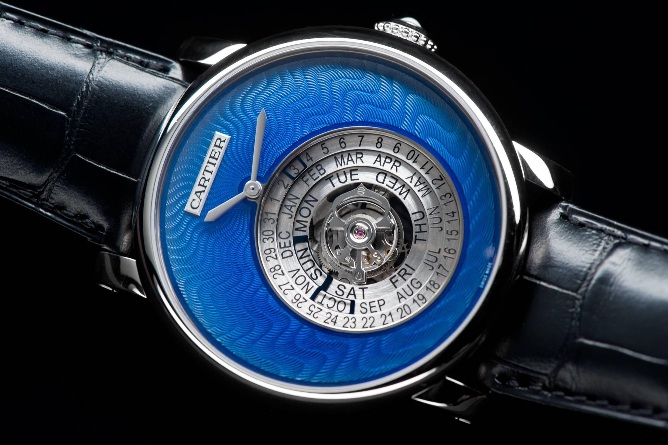 "Cartier Rotonde de Cartier Astrocalendaire, Tourbillon complication, perpetual calendar with circular display Calibre 9459 MC ""Poinçon de genève"" certified watch close up"