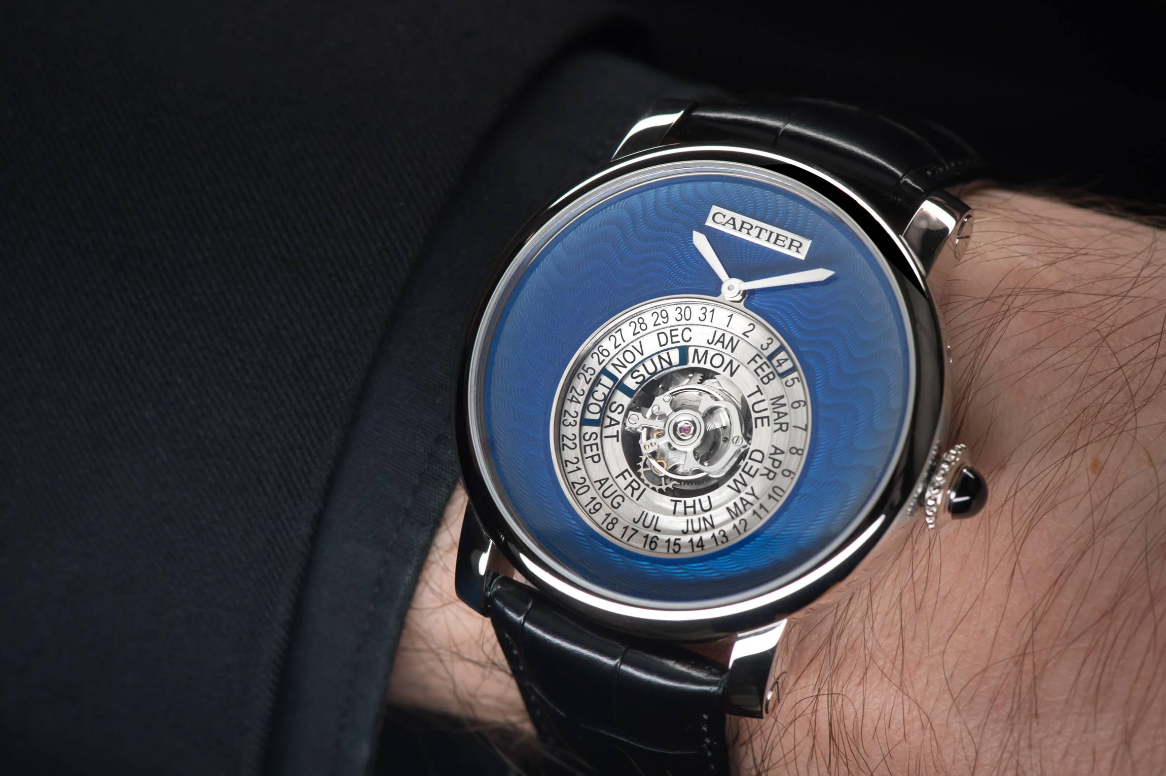 "Cartier Rotonde de Cartier Astrocalendaire, Tourbillon complication, perpetual calendar with circular display Calibre 9459 MC ""Poinçon de genève"" certified watch wrist"