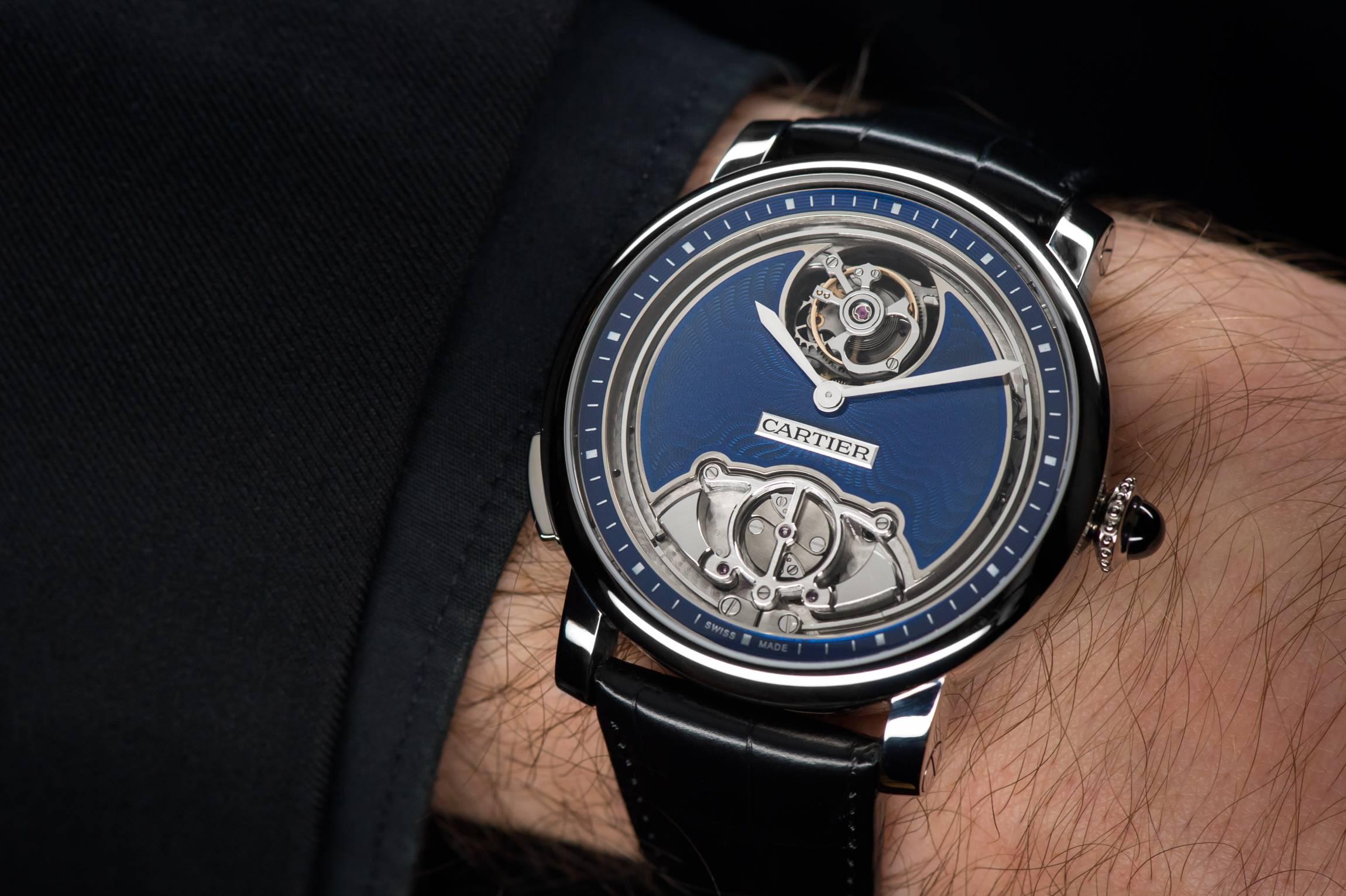 """Cartier Rotonde de Cartier Minute Repeater Flying Tourbillon Calibre 9402 MC """"Poinçon de genève"""" certified watch wristshot"""