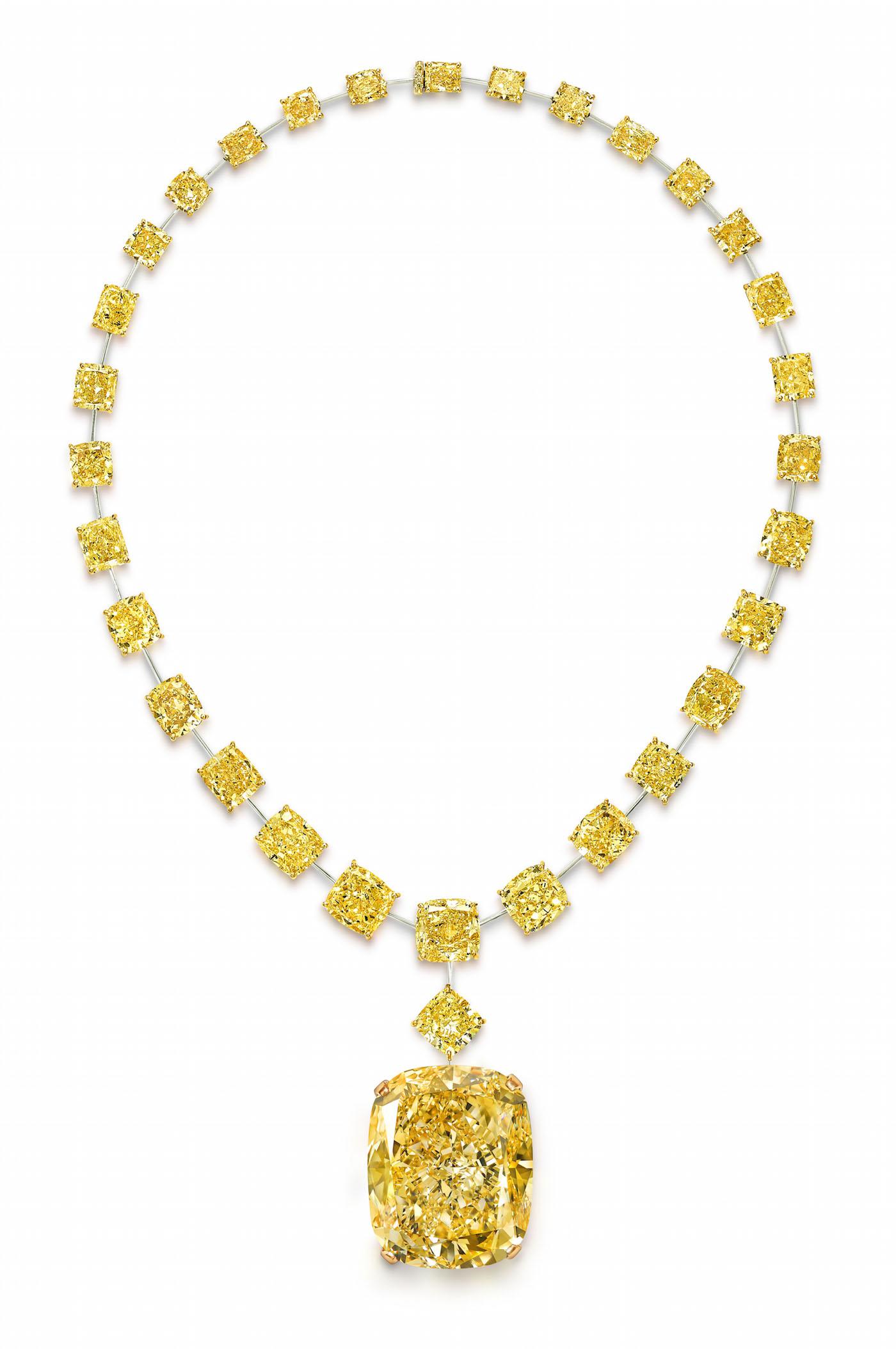 Graff Golden Empress set on a necklace.