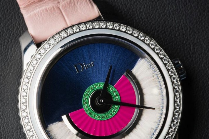 Exceptional timepieces in the Dior VII Grand Bal collection include watches like this, with feathers gracing the rotor.