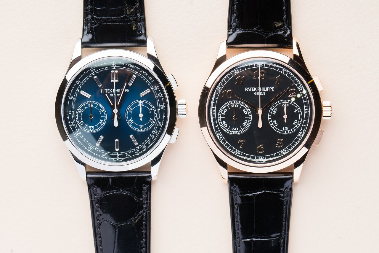 What a difference a dial can make! The Ref.5170P (left) next to its gold sibling