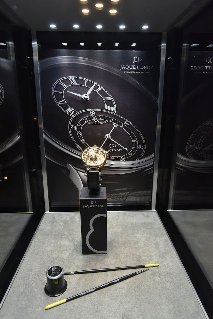 Jaquet Droz display at Tao Downtown (Photo by Eugene Gologursky/Getty Images for Haute Living)