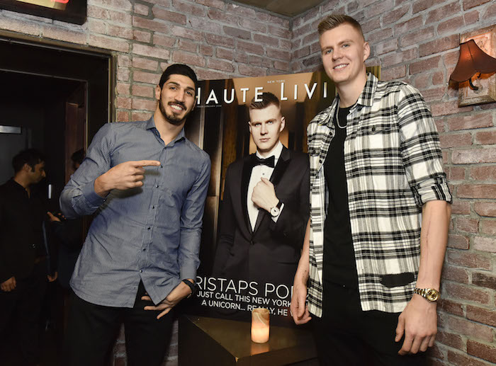 Teammates Enes Kanter and Kristaps Porzingis (Photo by Eugene Gologursky/Getty Images for Haute Living)