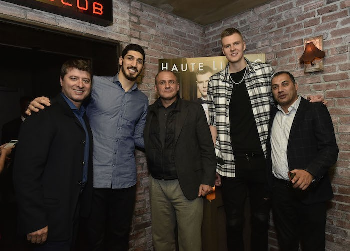 Edward Mermelstein, Enes Kanter, Ronn Torossian, Kristaps Porzingis and Mazen Dayem (Photo by Eugene Gologursky/Getty Images for Haute Living)