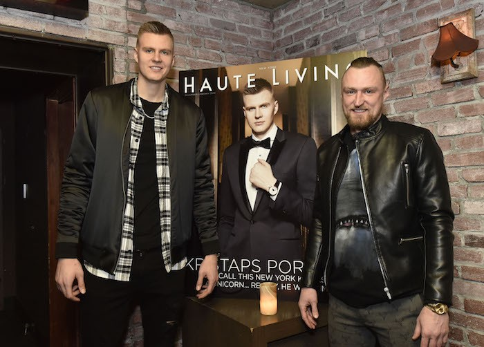 Kristaps Porzingis and Martins Porzingis (Photo by Eugene Gologursky/Getty Images for Haute Living)