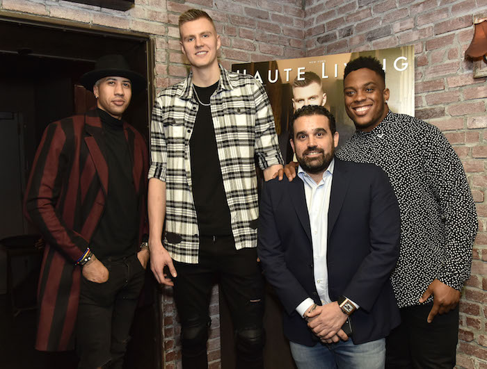 Miles Chamley Watson, Kristaps Porzingis, Seth Semilof and Devon Kennard (Photo by Eugene Gologursky/Getty Images for Haute Living)