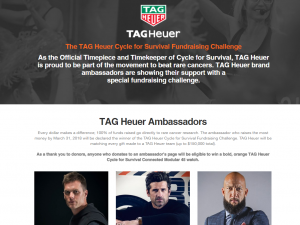 TAG Heuer, Its Ambassadors and Cycle for Survival Unite To Beat Cancer